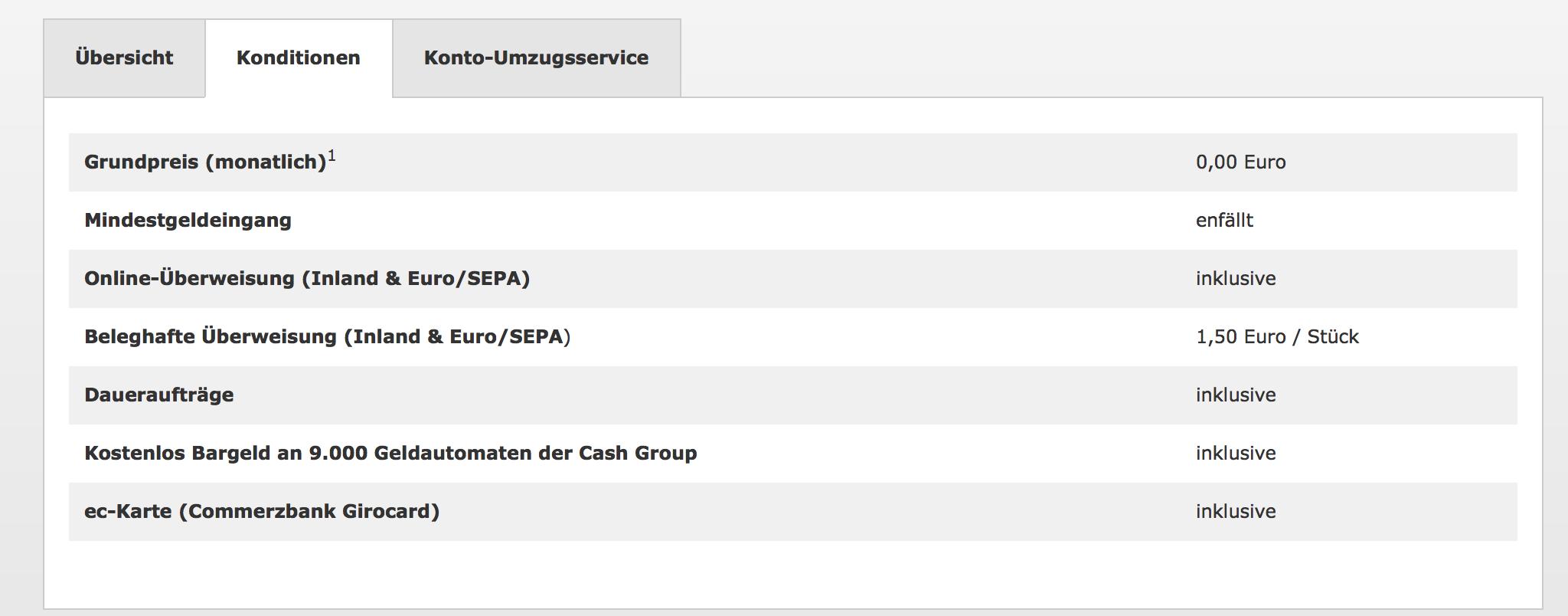 Commerzbank - kostenloses Girokonto